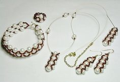 On Sale /  Glass Pearl Necklace Woven Lace by AmhalchyJewelry, $25.55