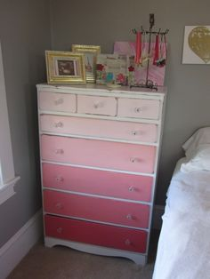 Ombre dresser - would be so cute for a nursery. Shades of pink for a girl, shades of blue for a boy, or maybe shades of gray to go either way! :)