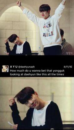 I don't ship it but it's funny xD Yongguk can't resist Daehyuns charms #bap#bapfunny#yongguk#himchan#daehyun#youngjae#jongup#zelo#kpop#bap