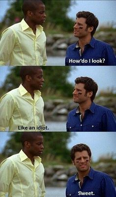 Shawn and Gus. What I loved about this show was not only the humor, but the fact that Shawn was fully aware and accepting of his own ridiculousness. Psych Memes, Psych Quotes, Psych Tv, Movie Quotes, Psych Cast, Psych Movie, Tv Quotes, Shawn And Gus, Shawn Spencer