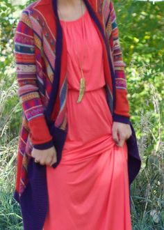 Oh Sweet Joy // ShopRiffraff's Aztec Cardigan and coral maxi dress topped with tassel necklace!