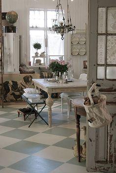 V i n ⓣ a g e . I n t e r i o r s ~ table, floor, shelf, lighting, chippy door
