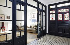 This is one of those rare occasions where I feature a home that is lacking in the decor departm. Black Interior Doors, Interior And Exterior, Architecture Details, Interior Architecture, Edwardian House, Entry Hallway, London House, Dark Interiors, Home Fashion