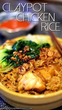 Claypot Chicken Rice - Succulent and flavourful chicken nestled in soft and fragrant jasmine rice #kitchenmissus