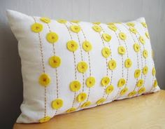 Pillow with felt circles