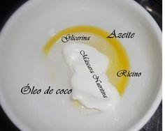 Super nutrição com três óleos vegetais: 1 csopa óleo de coco extra virgem (componente principal) 2 cchá azeite 1 cchá óleo de rícino 1 a 2 csopa creme de nutrição (depende do tamanho do cabelo) E o pulo do gato: 1 csob glicerina. 1 csob água Aplicar no cabelo seco