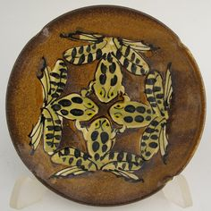 Plate with four leopard frogs stoneware pottery by MorrisPottery, $25.00