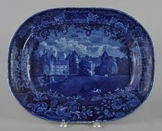 Historical blue Staffordshire platter, 19th c.