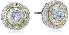 Cz by Kenneth Jay Lane Two Tone Bezel Set Stud Earrings, 5 CTTW ** Check out the image by visiting the link.