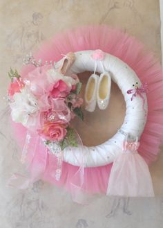 Pink Ballet Dance Wreath with Handmade Ballet by HungUpOnWreaths, $59.00