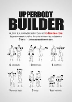 Upperbody Builder Workout – Fitness&Health&Gym For Women Fitness Workouts, Weight Training Workouts, At Home Workouts, Dumbbell Workout At Home, Arm Workout Men, Upper Body Kettlebell Workout, Rugby Workout, Workout Bodyweight, Kettlebell Set