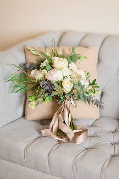 Green, White, and Cream Winter Bouquet | Gavin Farrington Photography | Event Design and Styling by Glow Event Design - http://heyweddinglady.com/winter-chic-intimate-holiday-wedding-cozy-neutrals-2
