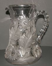 Antique Millersburg Hobstar and Feather Pattern Glass Tankard Water Pitcher