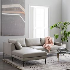 Andes Leather 3-Piece Chaise Sectional - Cement #westelm
