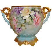 Wonderful Antique Limoges France Hand Painted Porcelain Ornate Jardiniere Vase Urn Roses & Lilacs