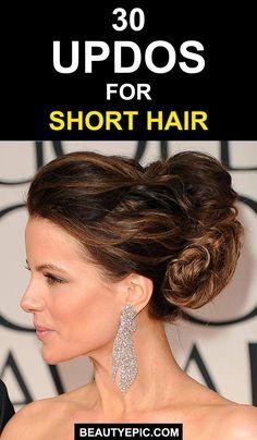 30 Gorgeous Updos for Short Hair Ideas you Must Try Immediately! Thin Hair Updo, Short Hair Bun, Short Hair Styles Easy, Short Wedding Hair, Retro Hairstyles, Trending Hairstyles, Short Hairstyles For Women, Bun Hairstyles, Ombre Hair Color