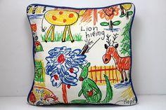 Vintage Childrens Art Pillow / Kids Crayon Zoo by ModernDayLuella, $29.50