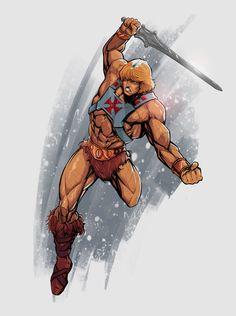 cartoon tattoos He-Man in Action on Behance Comic Book Characters, Comic Character, Comic Books Art, Comic Art, Cartoon Tattoos, Cartoon Logo, He Man Tattoo, He Man Desenho, Gi Joe
