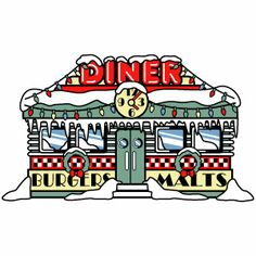 1950s Diner Clip Art or Restaurant decorated with Christmas Lights and covered in snow, a fun vintage style cartoon for Christmas Cards or holiday party invitations http://andynortnik.com/christmas-clip-art.htm