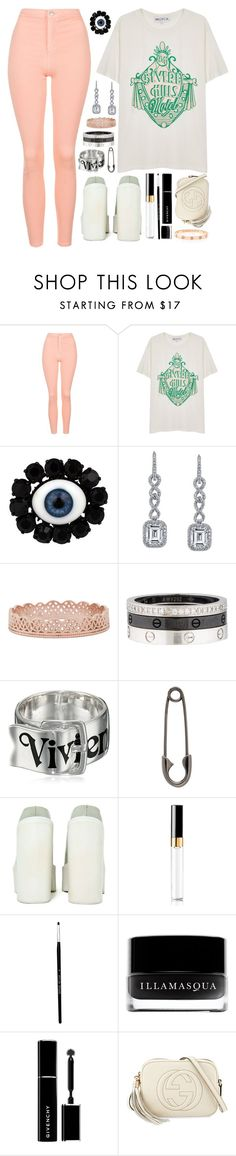 """""""beverly"""" by iriskatarina ❤ liked on Polyvore featuring Topshop, Wildfox, Rodarte, Harry Kotlar, Grace Lee Designs, Cartier, Vivienne Westwood, Julien David, Jeffrey Campbell and Chanel"""