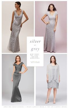Silver or Gray Mother of the Bride Dresses. Dresses for the mother-of-the bride and mother-of-the-groom in silver, gray, and other neutral colors. Silver Dress, Gray Dress, Groom Wedding Dress, Wedding Dresses, Wedding Outfits, Mother Of The Bride Inspiration, New Designer Dresses, Mother Of The Bride Dresses Long, Gray Weddings
