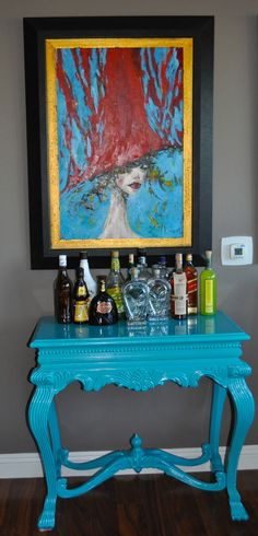 Going to find a table like this!  High Gloss Teal Painted Console makes the perfect self serve station.