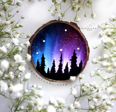 Northern Lights Galaxy Christmas Ornament. Custom personalized hand painted space ornament wood slice