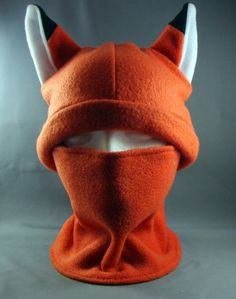 Fox Ninja Two Piece Hat and Neckwarmer worn together or seperate Warm Winter Fun Cute Cosplay Anime