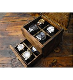 """Buy Men's watch box, rustic wooden watchbox  This storage box for watches is made of solid wood. Applied a technique of aging rustic style. Store your most important time pieces in a stunning watch case. The box has additional lockers for more convenience for every man. Stylish and useful gift for any occasion.  Measurements: 7"""" x 7.8"""" x 6"""" Compartments watches are approximately:  3 inches wide, 3 inches long, 2.8 inches deep.  Fit for 8 watches"""