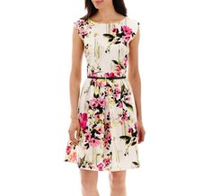 Tiana B. Cap-Sleeve Floral Belted Fit-and-Flare Dress