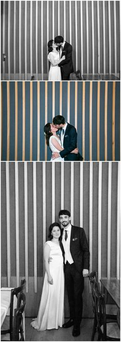 black and white and colour photos of couple on wedding day infront of striped wall. Rebecca Prigmore Photography