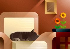 Cats & Sofas art prints on Illustration Served
