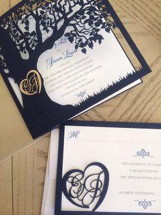 Custom Laser Cut Wedding Invitation Love Story by CelineDesigns