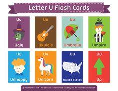 Free Printable Letter U Flash Cards Letter Flashcards, Alphabet Cards, Alphabet For Kids, Kindergarten Syllabus, Kindergarten Language Arts, Abc Phonics, Teaching Phonics, Free Printable Flash Cards, Printable Letters