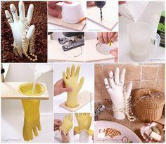 Vyrobte si takýto parádny stojan na šperky, ktorý vám bude každy závidieť. Jediné čo budete potrebovať je sádra, gumená rukavica a drevená doska na uchytenie rukavice...