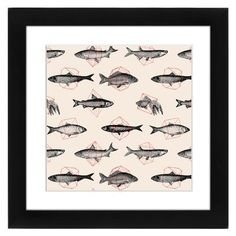 East Urban Home Fishes in Geometrics by Florent Bodart Framed Graphic Art Size: