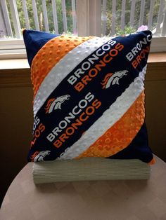 NFL Denver Bronco pillow by Therapythreads on Etsy. I had to get this off my chest. Broncos Gear, Denver Broncos Football, Go Broncos, Broncos Fans, Football Baby, Cincinnati Bengals, Indianapolis Colts, Football Season, Watch Football