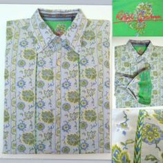 "Men's ROBERT GRAHAM Sport Shirt ""Knowledge Wisdom Truth""  Floral - Cotton with Embroidered Silk Trim - Large Retail $398 +  SOLD!"