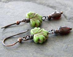 Olive Green Leaf Brown Copper Earrings by dreambelledesign on Etsy, $30.00