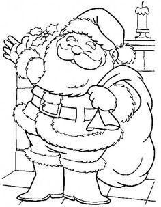 Santa Claus Preparing To Distribute Gifts Coloring Page