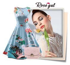 """""""rosegal 60"""" by elenb ❤ liked on Polyvore featuring Post-It, vintage, dress, women and rosegal"""