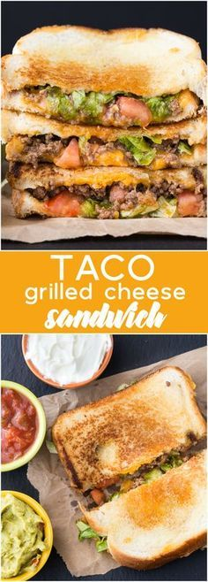 Taco Grilled Cheese Sandwich - Celebrate National Grilled Cheese Day by taking t. - Taco Grilled Cheese Sandwich – Celebrate National Grilled Cheese Day by taking two recipe favourit - Grilling Recipes, Lunch Recipes, Mexican Food Recipes, Beef Recipes, Cooking Recipes, Good Recipes, Burger Recipes, Gourmet Food Recipes, Griddle Recipes
