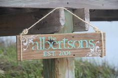 Reclaimed Wood Custom Family Last Name Sign by DocksideCottage