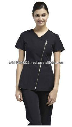 Simon jersey stylish black beauty tunic with hot pink for Spa uniforms johannesburg