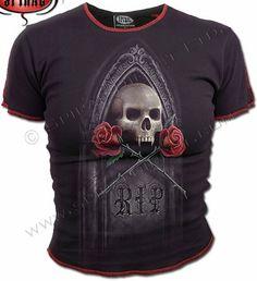 Spiral Black 'Skull & Crossed Roses' Ladies T-Shirt