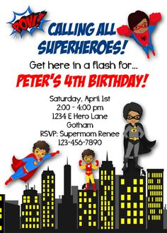 Printable, or printed for you. Superhero Birthday Invitations, Printable Birthday Invitations, Superhero Party, All Superheroes, Super Mom, Diy Party, 4th Birthday, Invitation Design, Rsvp