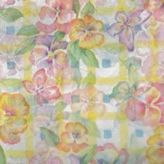 "Pansies & Plaid Pastel Flowers Floral Tissue Paper Sheets Gift Wrap Wrapping Paper (Pack of 5) 30x20"" - 750x500mm - Christmas Wrapping"