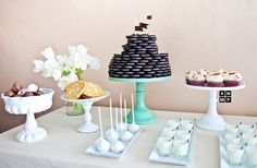 """How cute is this Oreo """"cake""""??? And the little milk cups?? (Anneli Marinovich Copyright)"""