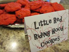 """Hot Glue & Sparkle. """"Little Red Riding Hood Cookies."""" Red chocolate chips cookies fitting for a Once Upon a Time (fairytale) themed party. Check out the blog for other Once Upon a Time party ideas."""