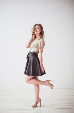 Leather top and skirt by Coo Culte